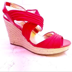 Style & Co shoes Wedge Red open toe ladies sz 8